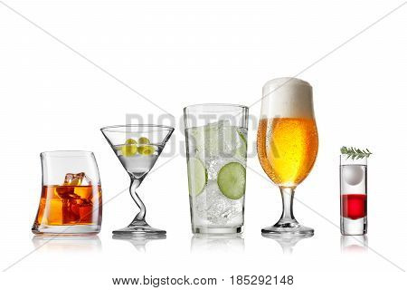 collection of different style of the glasses on white back