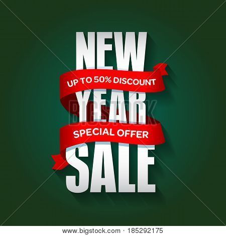 New Year Sale Badge, Label, Promo Banner Template. Special Sale Offer Text On Ribbon. Limited Time O