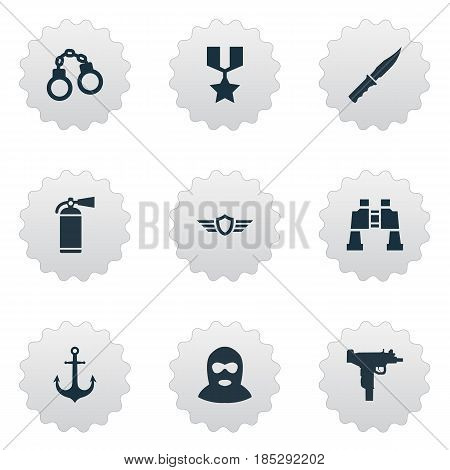 Vector Illustration Set Of Simple Military Icons. Elements Hero Reward, Extinguisher, Terrorist And Other Synonyms Emblem, Firearm And Spyglass.