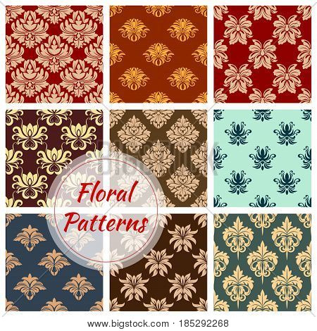 Floral damask seamless pattern set. Flower ornament of ornate baroque tracery and royal victorian flourish motif for wallpaper pattern or textile embellishment design