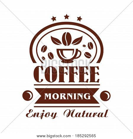 Coffee cup and beans vector icon for premium product, cafe or cafeteria label design. Symbol of hot espresso or steamy americano and ribbon for coffeeshop of coffeehouse drinks menu