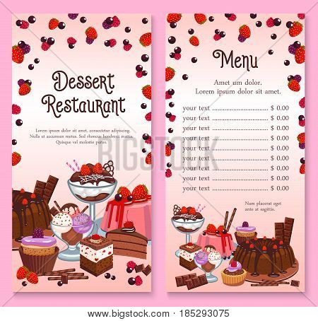 Pastry menu of cakes and cupcakes desserts. Vector price for patisserie or cafeteria with chocolate tiramisu and brownie torte or charlotte pudding pie, sweet candy muffin and ice cream