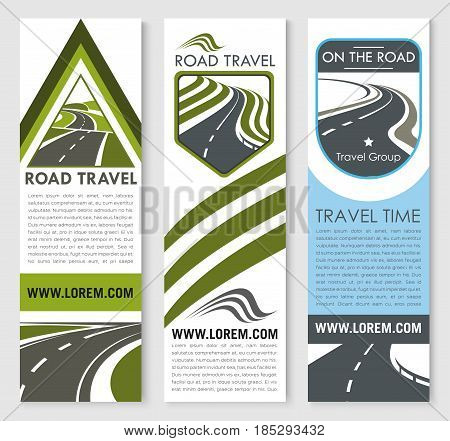 Car travel company vector banners wet for road trip tourist agency or travel group. Template design of highways or motorway lanes with marking and stars or transportation routes for journey service