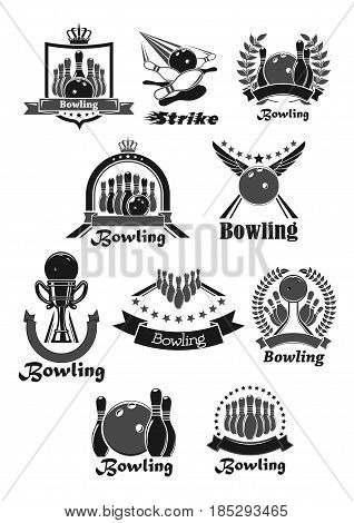 Bowling club icons or game awards vector badges. Symbols of bowling ball with wings, strike skittle pins. Championship winner trophy laurel wreath or ribbon with stars and champion prize goblet