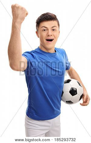 Teen football player looking at the camera and gesturing happiness isolated on white background