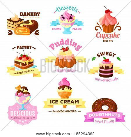 Desserts and pastry cakes icons for patisserie or sweet bakery and cafeteria menu elements. Vector isolated cupcakes, tiramisu biscuits, chocolate donut, cheesecake brownie pie and ice cream