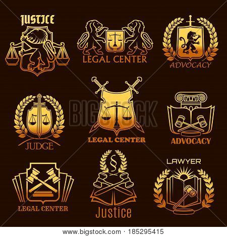 Advocacy and lawyer legal center vector icons. Isolated symbols set of justice scales, heraldic lion or swords and judge gavel, laurel wreath and law code book for advocate and counsel attorney office