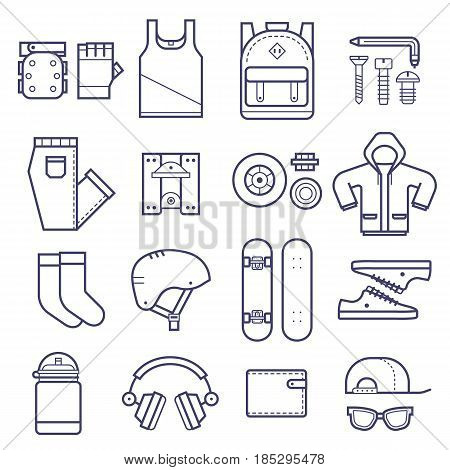 Skateboard icons set with skateboarding equipment in thin line style. Skate deck,  skate riding accessories and clothes in outline design. Urban lifestyle collection with skateboard gear and clothes.