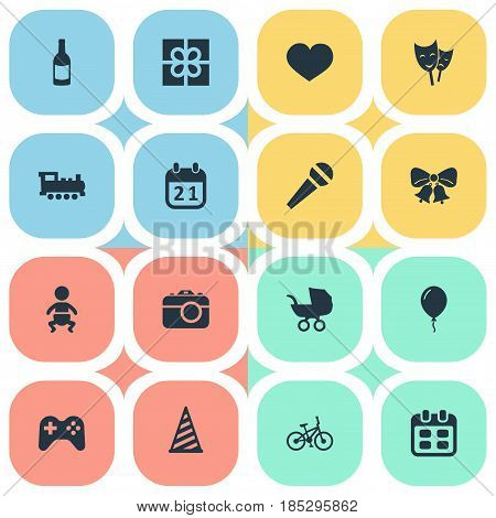 Vector Illustration Set Of Simple Celebration Icons. Elements Special Day, Speech, Days And Other Synonyms Bells, Kid And Soul.