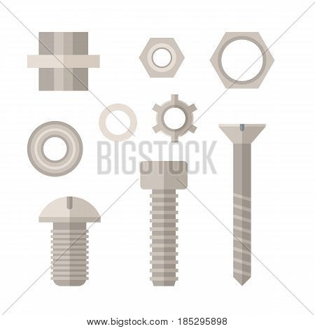 Screws, bolts and nuts icon set in flat design. Repairing and mechanic tools collection in retro colors.