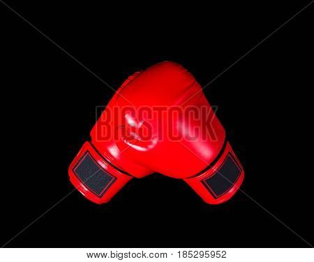 boxing of gloves on a black background.