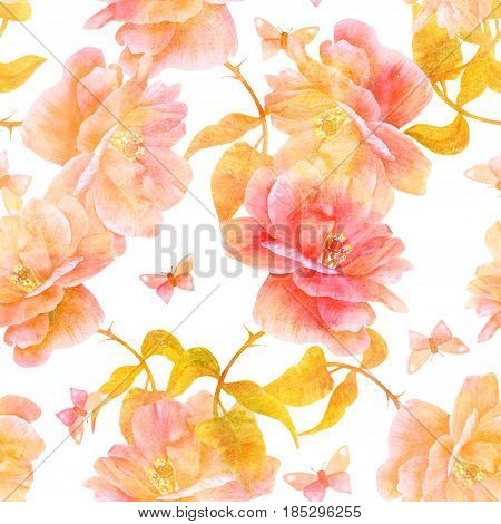 A seamless pattern with a watercolor drawing of a blooming rose and a butterfly, hand painted on white background in the style of vintage botanical art, golden toned