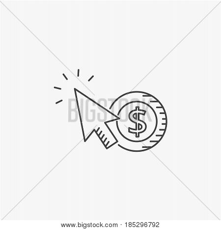 Pay per click vector line icon. Internet marketing concept.