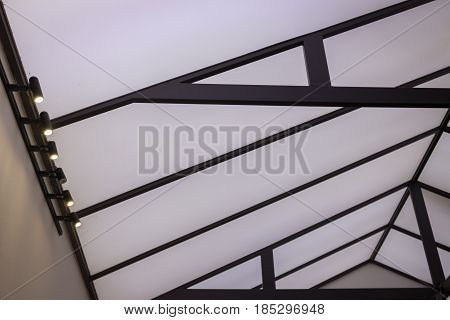 Spotlight Of Architectural Ceiling Interior stock photo