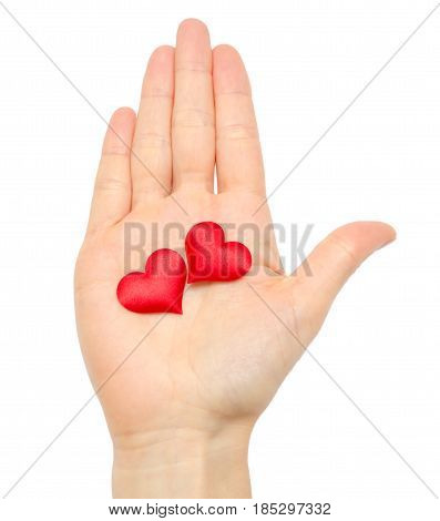 Woman Hand Holding Red Heart.