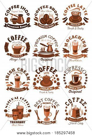 Coffeeshop vector icons of coffee cups and roasted beans. Isolated symbols of hot espresso or americano mug with steam, coffee maker and latte or frappe for premium cafe or cafeteria label design