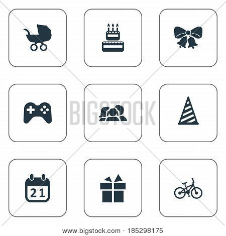 Vector Illustration Set Of Simple Holiday Icons. Elements Confectionery, Ribbon, Cap And Other Synonyms Cap, Calendar And Play.