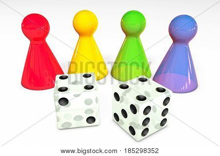3d illustration: Four colored transparent plastic board game pieces with reflection and two white dice with black dots isolated on white background