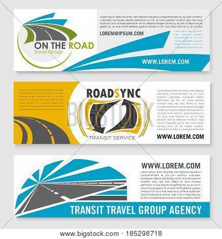 Road travel agency vector banners set for tourist or transport transit company. Design of highways and motorways with tunnels and traffic signs or lane marking for tourist journey service group