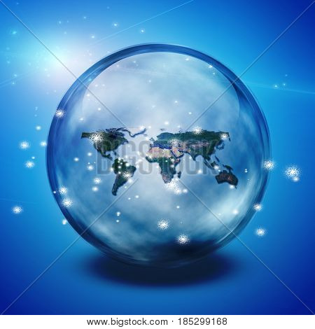 World in crystal ball.   3D rendering  Some elements provided courtesy of NASA