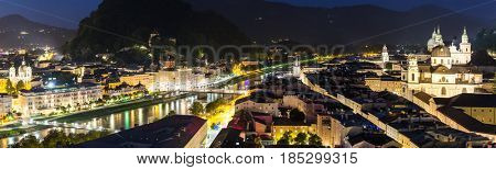 Salzburg Austria, Beautiful view of the historic city of Salzburger Land in Austria at night panorama