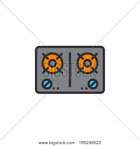 Gas stove line icon filled outline vector sign linear colorful pictogram isolated on white. logo illustration