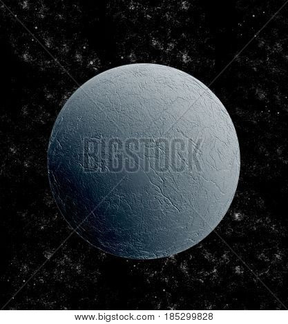 Moon in the empty universe (3D illustration)