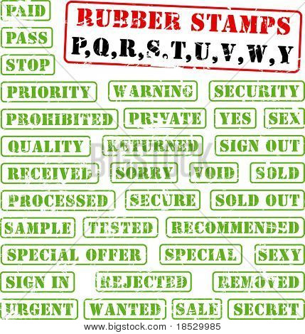 Collection of rubber stamps with words beginning with letter P,Q,R,S,T,U,V,W,Y. See other rubber stamp collections in my portfolio.
