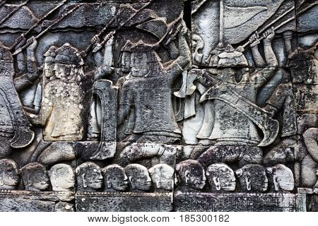 old khmer art carvings bas-relief on the wall