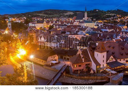 Aerial view of old Town of Cesky Krumlov, Czech Republic sunset