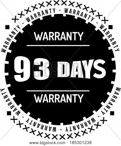 93 days black warranty icon vintage rubber stamp guarantee
