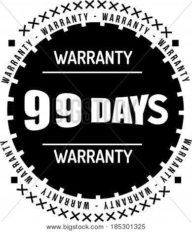 99 days black warranty icon vintage rubber stamp guarantee