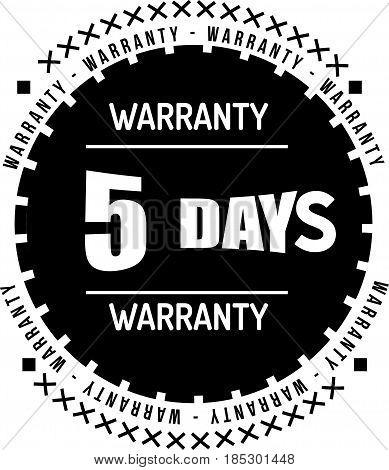 5 days black warranty icon vintage rubber stamp guarantee