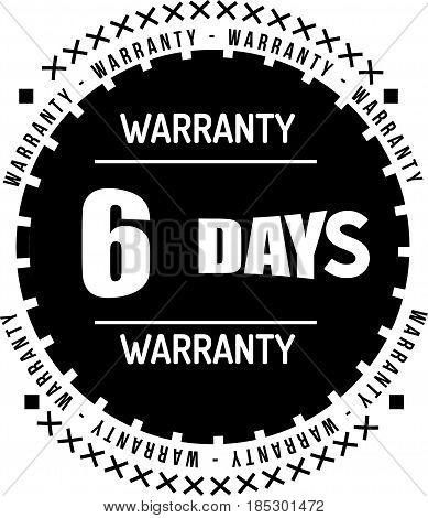 6 days black warranty icon vintage rubber stamp guarantee
