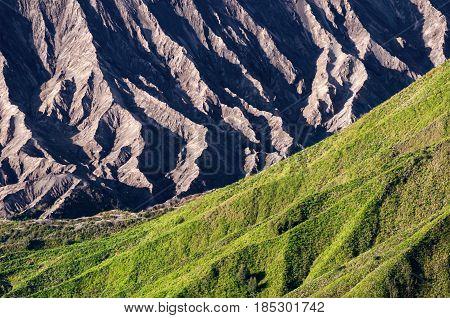 Texture Of Mount Bromo & Batok Volcanoes In Bromo Tengger Semeru National Park, East Java, Indonesia