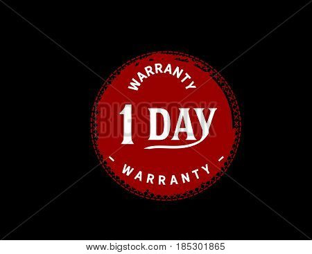 warranty 1 day red vintage grunge black rubber stamp guarantee background