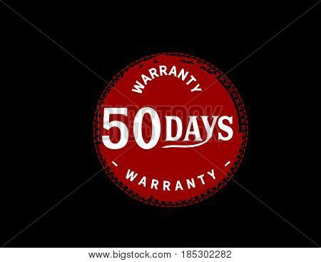 50 days red warranty icon vintage rubber stamp guarantee