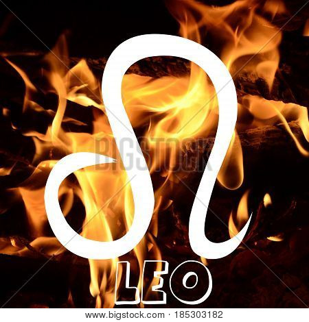 Leo zodiac sign on fire element background