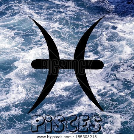 Pisces zodiac sign on water element background