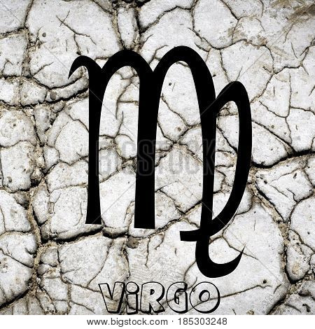 Virgo zodiac sign on earth element background