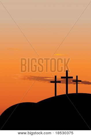 Hill with three crosees. Symbol of Golgotha, or Calvary, the hill on which Jesus was crucified