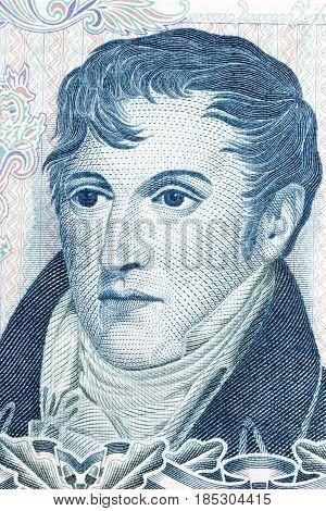 Manuel Belgrano portrait from Argentinian money - Peso