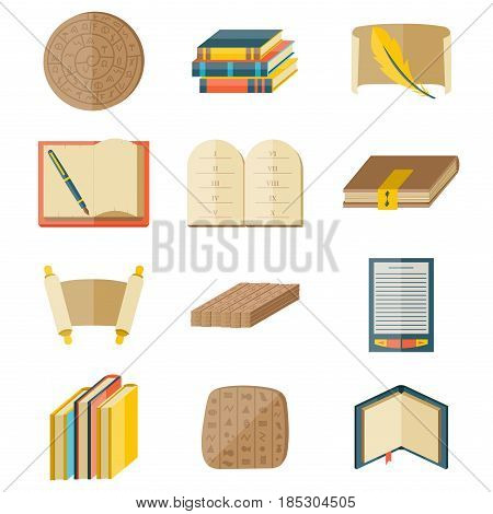 Books icons document magazine publication typography and publishing knowledge typography bookstore vector illustration. Cartoon textbook included library education reading encyclopedia.