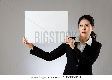 Scared Woman Holding Board With Sad Face