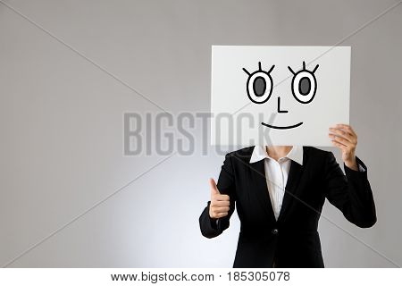 Holding Blank Placard With Thumbs Up