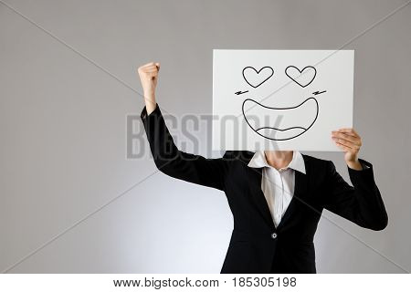 Excited Lady With Happy Face On Billboard