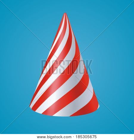 red cone with white trackt on blue background