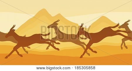 Vector seamless horizontal pattern with grupp of antelopes mountain background