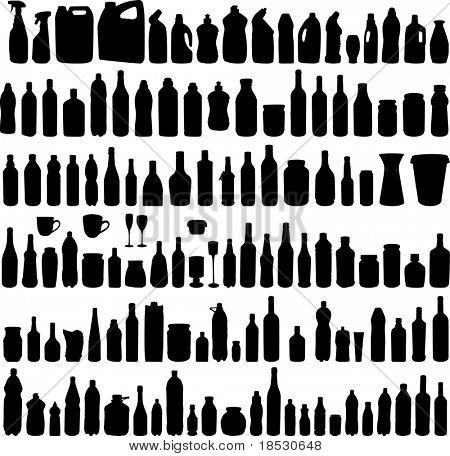 Large collection of vector illustration of the different bottles silhouettes