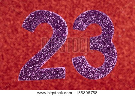 Number twenty-three purple over a red background. Anniversary. Horizontal